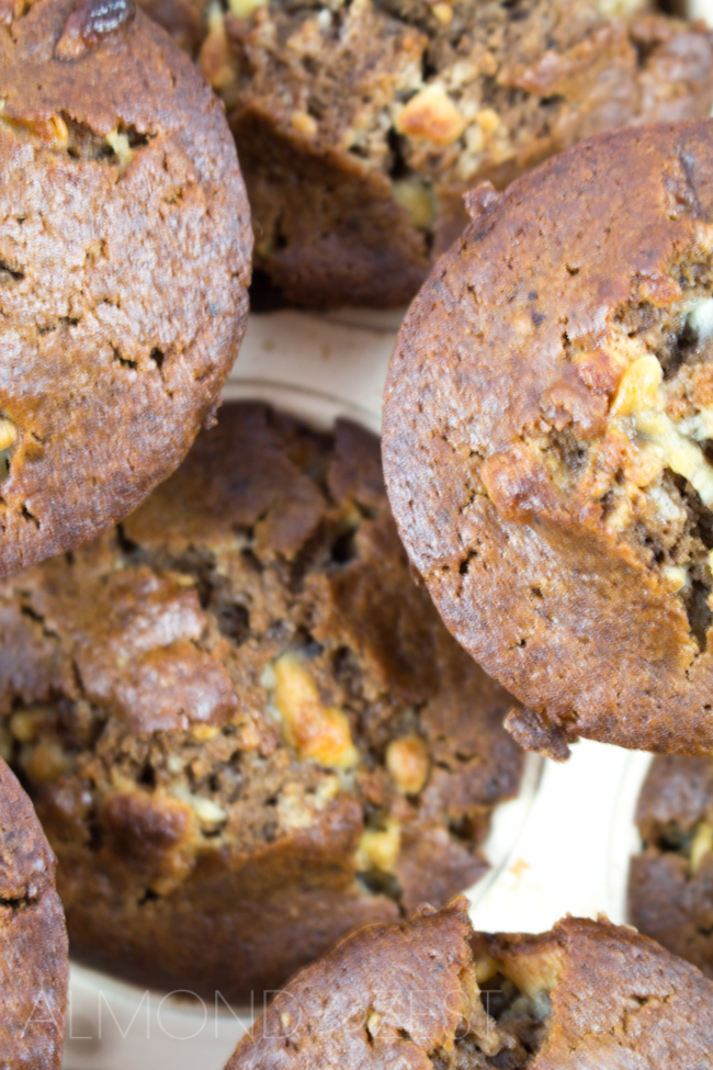 Double Chocolate Mocha Muffins - I love the superbly soft, moist texture of this chocolaty mix that is swirled with small chunks of crushed white chocolate chips!!