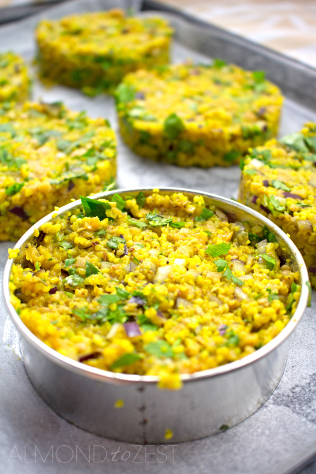 Chick Pea and Bulgur Wheat Patties - Exploding with fantastic flavors of fresh cilantro, garlic, tumeric, toasted cumin seeds and red onion for zing! Healthy and vegetarian too. SO GOOD!!