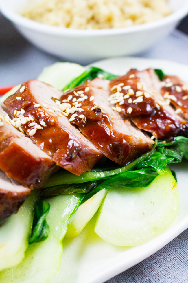 Char Siu Pork - Thick, red, caramelized glaze coating tender & moist pork. Served with Pak Choy and fluffy Quinoa, YUM!!