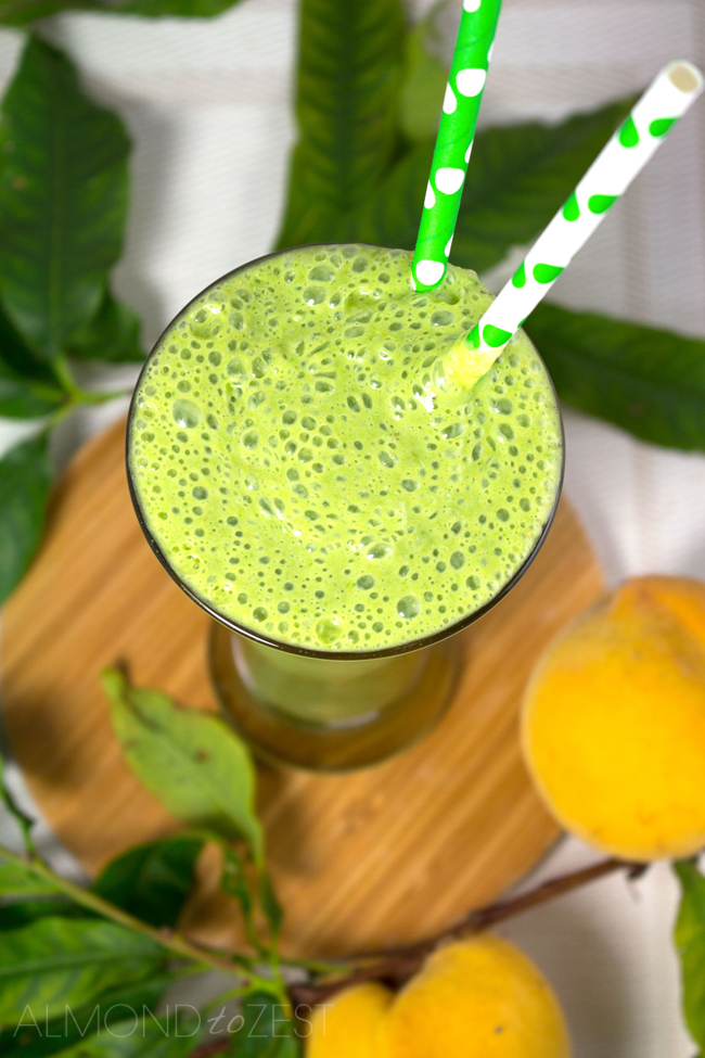 Peach, Banana, Coconut and Spinach Smoothie