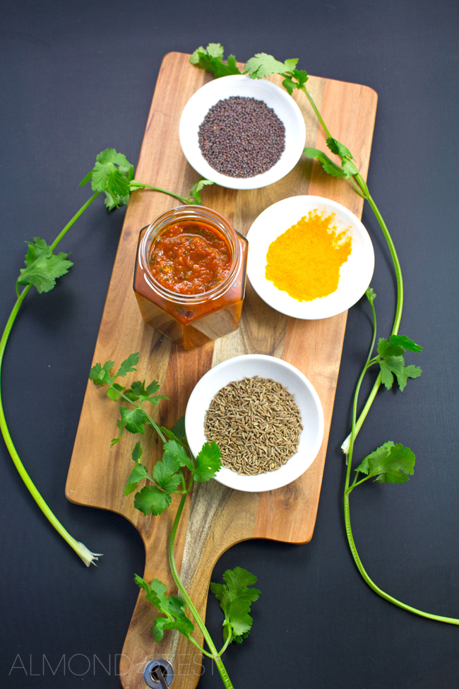 Tomato and Cilantro Chutney - You'll never buy store bought again after trying this easy and simple recipe! Packed full of spices and cilantro, you are going to want to eat this chutney with absolutely everything!