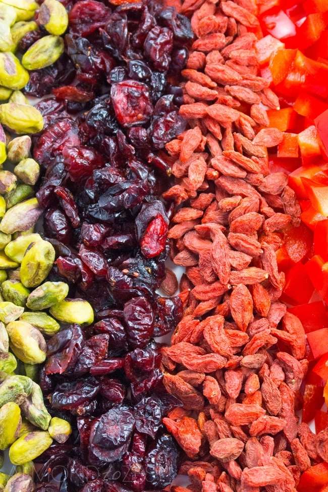 Goji Berry and Kaniwa Salad - This goji berry and kaniwa salad is a great option for vegetarians as it is loaded with protein and iron. It can also easily be made vegan by substituting the honey for another sweetener!