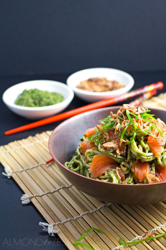 Soba Noodles with Nori Pesto and Salmon