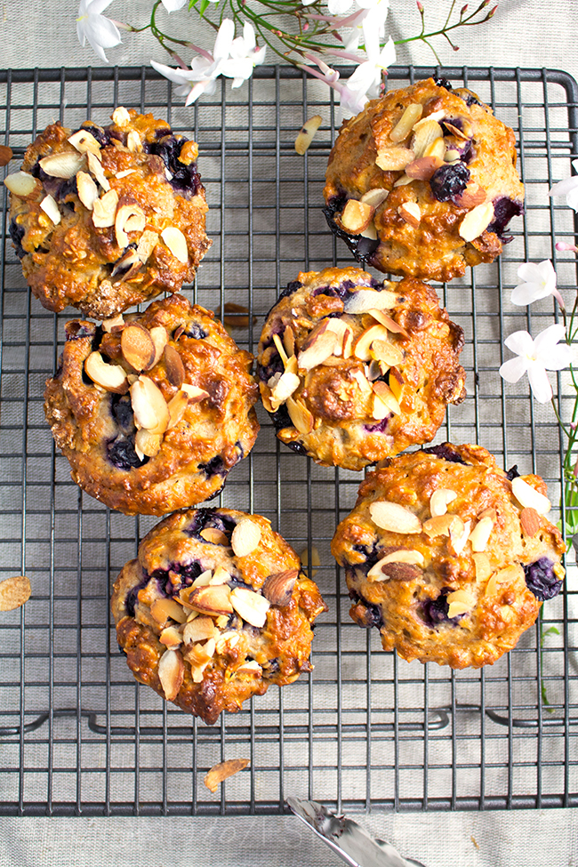 Whole-Wheat Blueberry and Oat Muffins