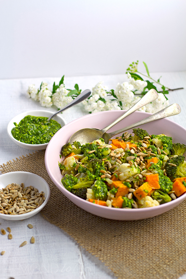 Sweet Potato, Cauliflower and Broccoli Salad with Basil Pesto and Sunflower Seeds